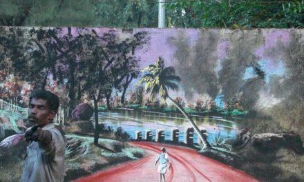 Άστεγος ζωγραφίζει με φύλλα δέντρων και λάσπη